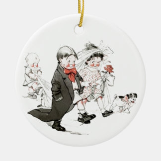 Cute Children Doing The Wedding March Ornaments