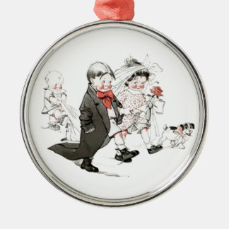 Cute Children Doing The Wedding March Ornament