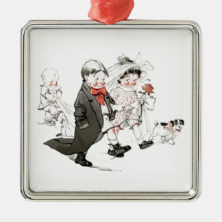 Cute Children Doing The Wedding March Christmas Tree Ornament