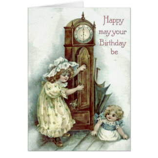 Cute Children Grandfather Clock Kitten Card