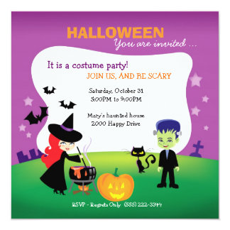Cute Children Halloween Party with witch Card