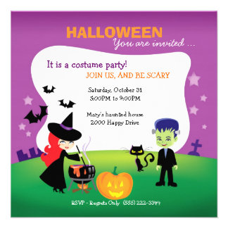 Cute Children Halloween Party with witch Personalized Announcement