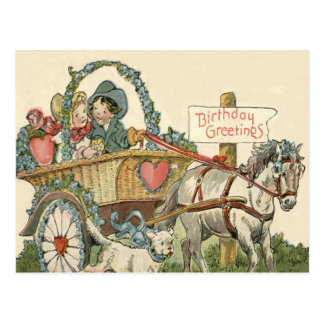 Cute Children Horse Dog Carriage Postcard