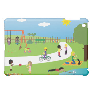 Cute Children & Pets Playing In The Park Colorful iPad Mini Cases