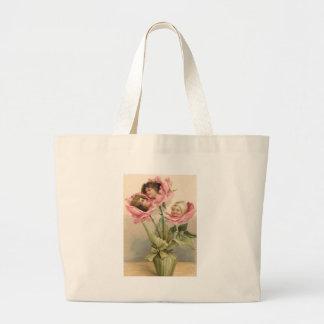 Cute Children Pink Roses Rose Large Tote Bag