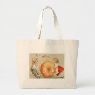 Cute Children Rolling Pumpkin Jumbo Tote Bag