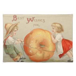 Cute Children Rolling Pumpkin Cloth Placemat