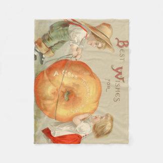 Cute Children Rolling Pumpkin Fleece Blanket