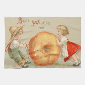 Cute Children Rolling Pumpkin Hand Towel