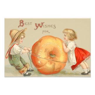 Cute Children Rolling Pumpkin Photo Print