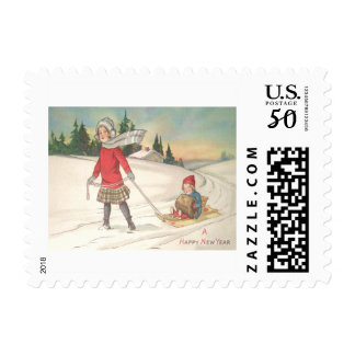 Cute Children Sledding Sled Snow Postage