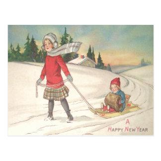 Cute Children Sledding Sled Snow Postcard