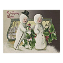 Cute Children Snowman Holly Postcard