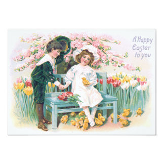 Cute Children Tulips Easter Chick Tree Card