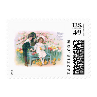 Cute Children Tulips Easter Chick Tree Postage