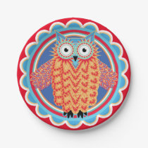 Cute Children's Birthday Party Owl Paper Plate