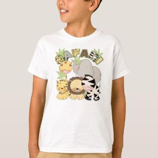 cute children's tshirt with safari jungle animals
