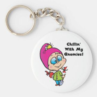 Cute Chillin With My Gnomes Design Basic Round Button Keychain