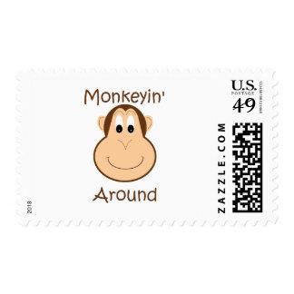 Cute chimp stamp