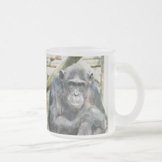 CUTE CHIMPANZEES FROSTED GLASS COFFEE MUG