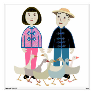 Cute Chinese couple with ducks Wall Decals
