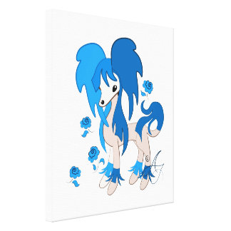 Cute Chinese Crested Bright Blue Canvas Print