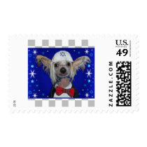 Cute Chinese Crested Dog Hanukkah Stamps