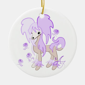 Cute Chinese Crested Lavender Ceramic Ornament