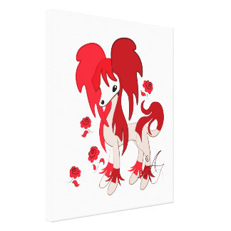 Cute Chinese Crested Red Canvas Print
