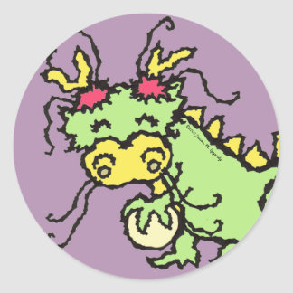 Cute Chinese Dragon Pearl of Wisdom Kids Party Classic Round Sticker