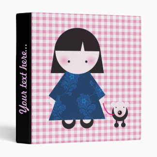 Cute chinese girl and her little dog 3 ring binder