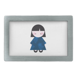 Cute chinese girl belt buckle