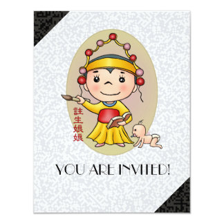 Cute Chinese God Of Birth Card