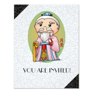 Cute Chinese God Of Love 4.25x5.5 Paper Invitation Card