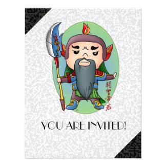 Cute Chinese God Of Success Custom Invites