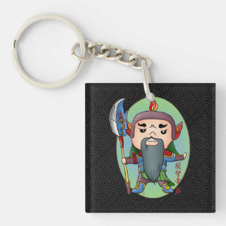 Cute Chinese God Of Success Single-Sided Square Acrylic Keychain