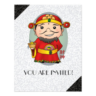 Cute Chinese God Of Wealth Personalized Invite