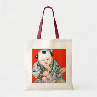 Cute Chinese Laughing Good Luck Buddha on red Canvas Bags