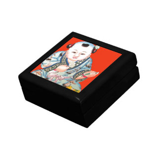 Cute Chinese Laughing Good Luck Buddha on red Jewelry Box