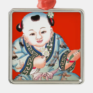 Cute Chinese Laughing Good Luck Buddha on red Metal Ornament