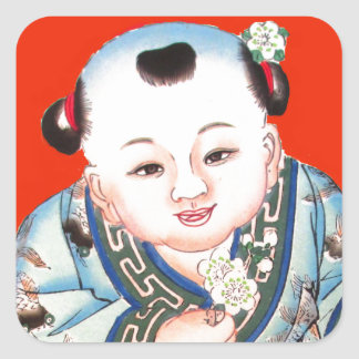 Cute Chinese Laughing Good Luck Buddha on red Square Sticker