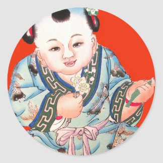 Cute Chinese Laughing Good Luck Buddha on red Round Stickers