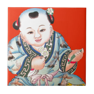 Cute Chinese Laughing Good Luck Buddha on red Tiles
