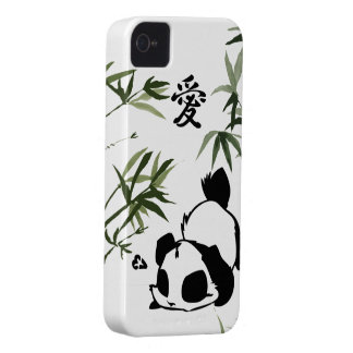 """Cute Chinese """"Love"""" Panda with Bamboos iPhone 4 Cover"""