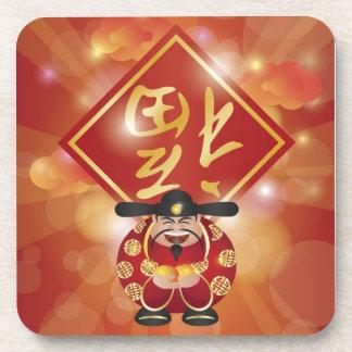 Cute Chinese Money God Cork Coaster
