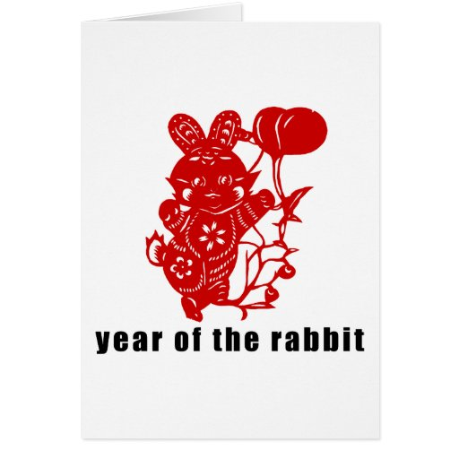 Cute Chinese Paper Cut Year of The Rabbit Gift Card