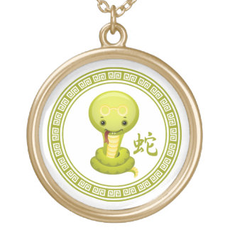 Cute Chinese Year of the Snake Gold Plated Necklace