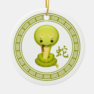Cute Chinese Year of the Snake Double-Sided Ceramic Round Christmas Ornament