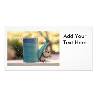 Cute Chipmunk and Watering Can Picture Card