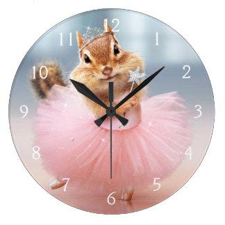 Cute Chipmunk Ballerina in tutu at Dance Studio Large Clock